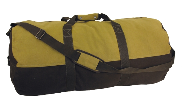 "Duffel Bag, 24"" x 14"" Two Tone (Colors: Black With Olive)"