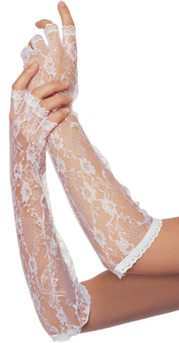 Elbow Length Fingerless White Lace Gloves