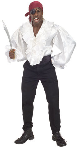 Adult White Satin Pirate Shirt