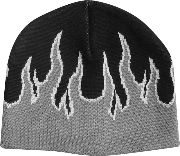 Grey Beanie Cap with Flames