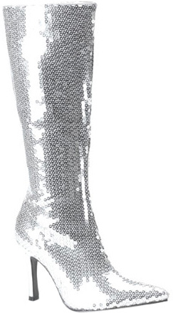 Silver Sequin Boots
