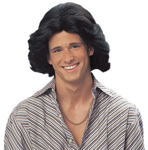 Men's Black 70s Feathered Costume Wig