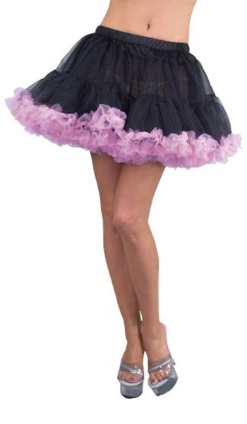 Black Double Layer Tulle Petticoat with Pink Trim