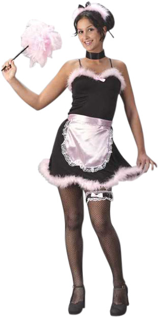 Young teens in french maid costumes