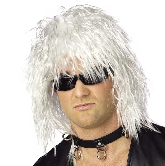 80 39 s white rock star wig cornell big red game day for Rock star photos for sale