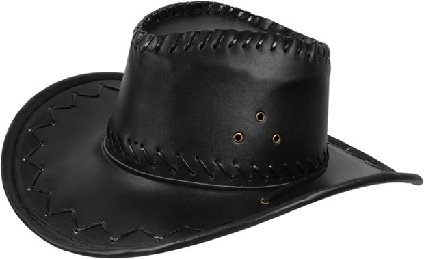 d48ebeb7c7c Adult Black Leather Cowboy Hat