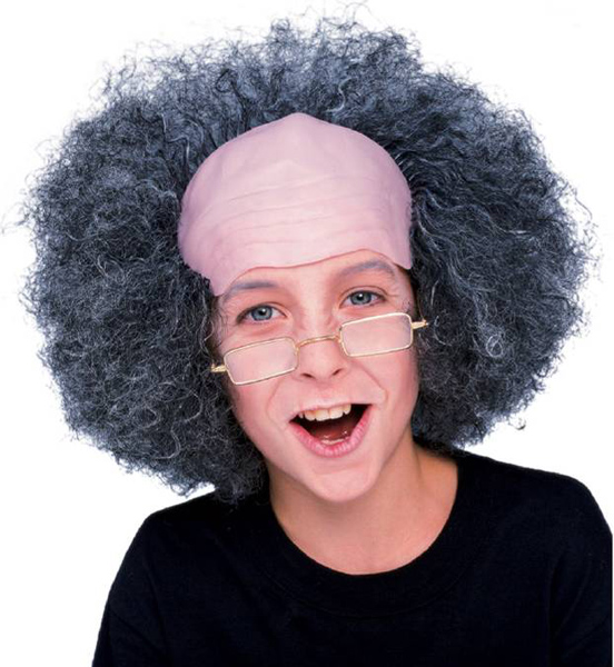 Child's Curly Grey Professor Wig