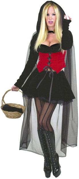 Sexy Velvet Red Riding Hood Black & Red Costume