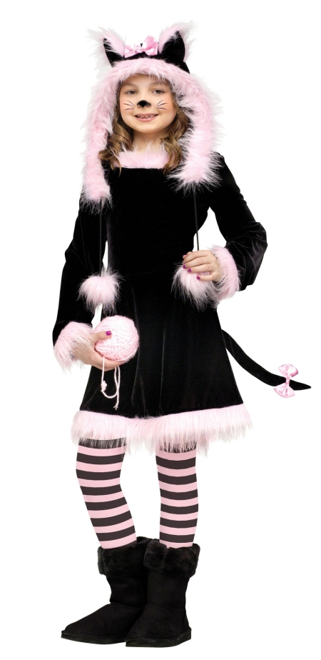 Girls Black And Pink Kitty Hood Costume Pink Cat Costumes