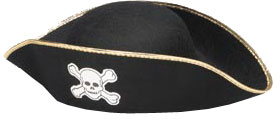 Adult Costume Pirate Hat W/ Gold Trim
