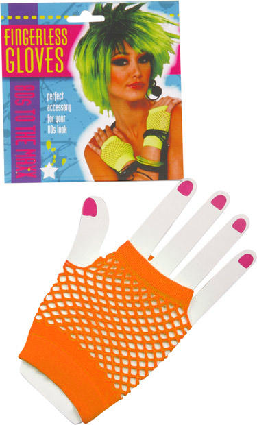 Woman's Short Neon Orange Fingerless Fishnet Gloves