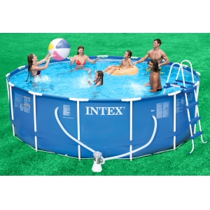 "Intex Round Metal Frame Set 15' x 48"" Complete Pool Set"