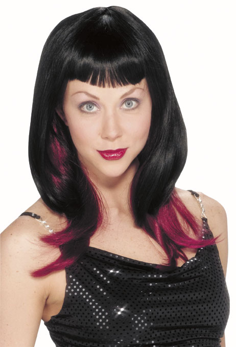 2 Toned Black & Burgundy Vampire Wig
