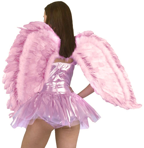 Pink Feathered Angel Costume Wings