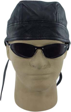 Solid Black Leather Skull Cap