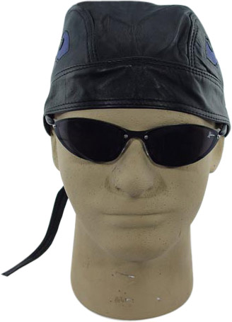 Black Leather Skull Cap w/ Blue Flame Insert
