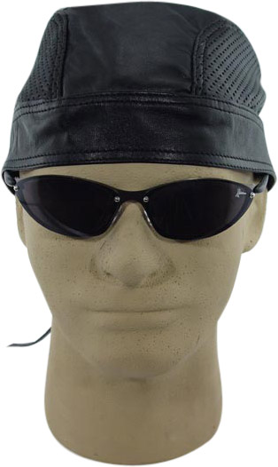 Black Leather Skull Cap w/ Air Holes