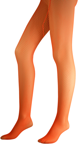 Neon Orange Fishnet Pantyhose