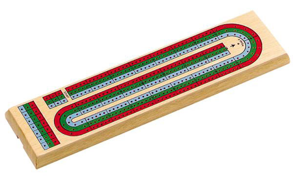 15 inch 3 Track Multi Colored Cribbage Board
