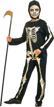 Child's Skeleton Costume w/ Hood