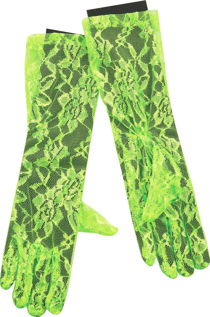 Woman's 80s Style Neon Green Lace Gloves