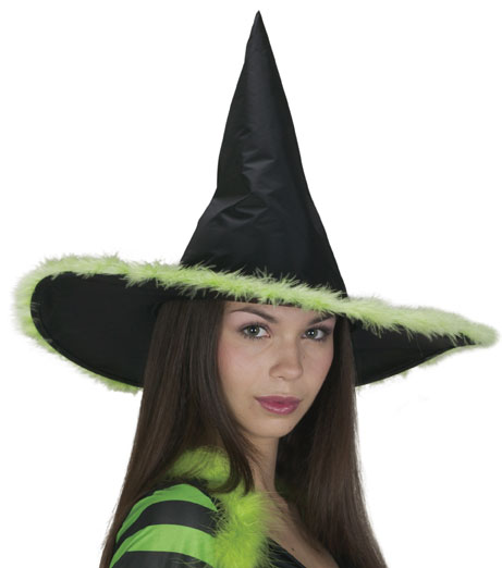 Standard Lime Marabou Witch Hat