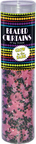 Glow in the Dark Pink Stars Curtain