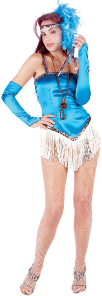 Sexy Blue 20s Fringe Flapper Dress Costume