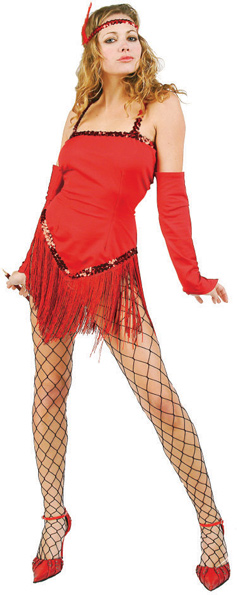 Sexy Red 20s Fringe Flapper Dress Costume