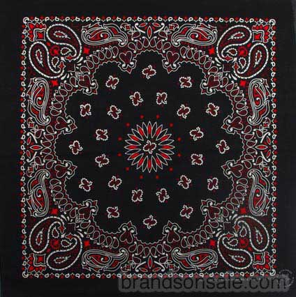 Black Red & White Paisley Bandanas