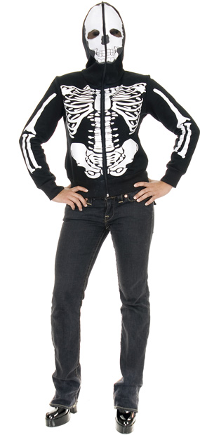 Women's Black And White Skeleton Sweatshirt Hoodie