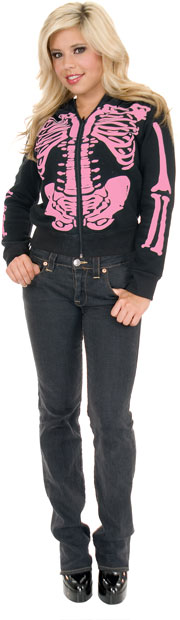 Women's Black & Pink Skeleton Hoodie