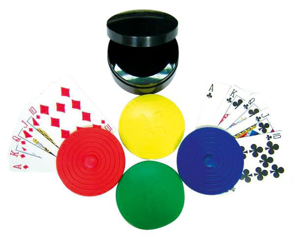 4 Piece Round Card Holders with Case