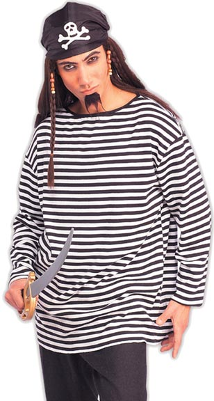 Adult Black And White Striped Pirate Shirt