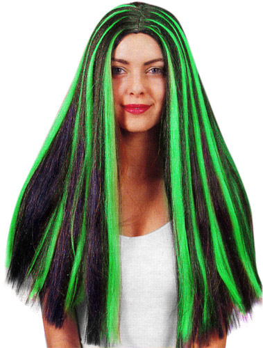 Adult Black & Green Witch Wig