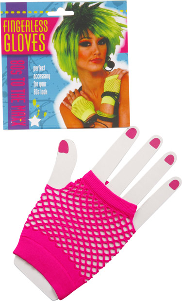 Woman's Short Neon Pink Fingerless Fishnet Gloves