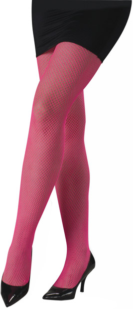 Woman's Pink Neon Fishnet Pantyhose