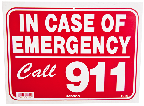 Pool Call 911 Sign