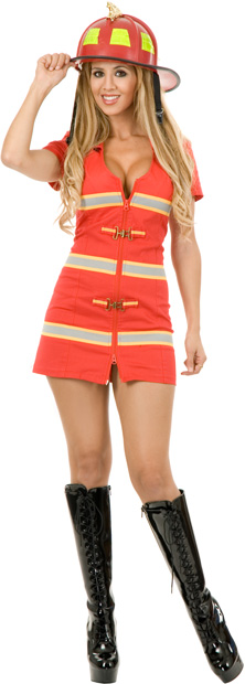 Women's Sexy Red Fire Fighter Costume