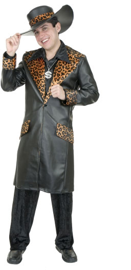 Adult  Faux Leather Cheetah Pimp Suit