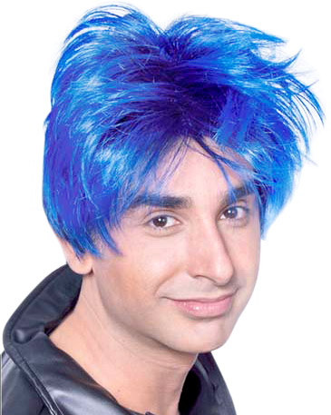 Men's Black & Blue Punk Wig