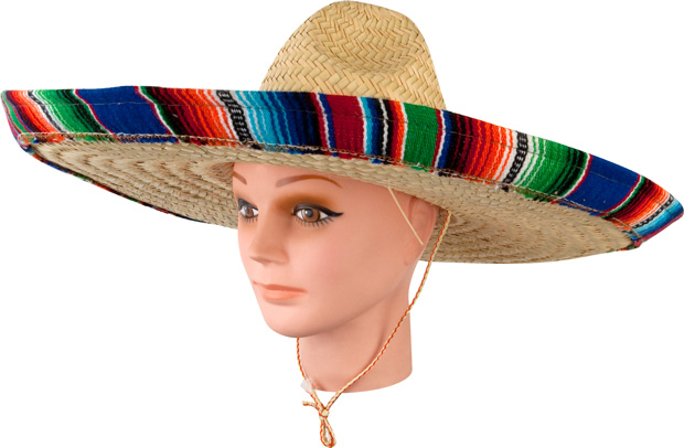 Adult Mexican Sombrero Hat With Serape Band