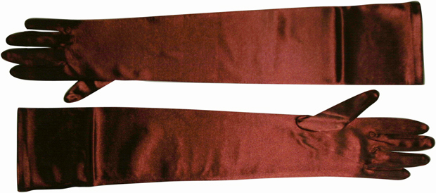 Opera Length Burgundy Satin Gloves