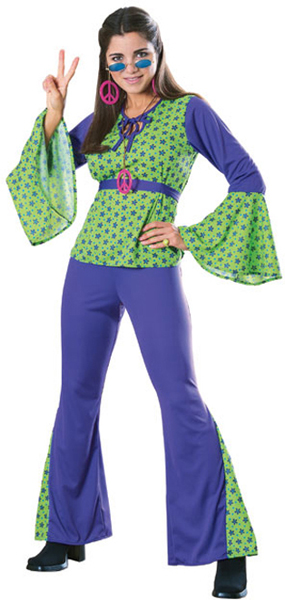 Women's Green & Purple Hippie Costume