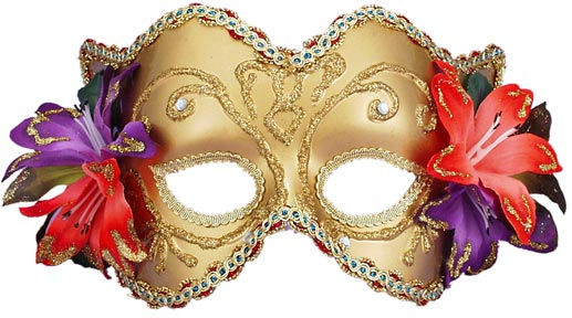 Gold Venetian Half Mask With Flowers
