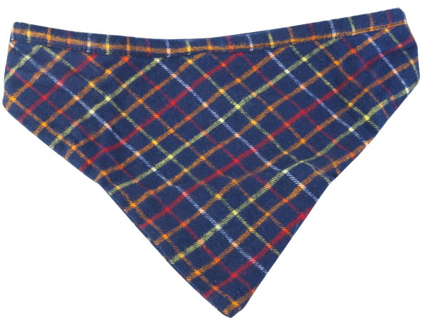 Dark Blue Plaid Dog Bandanna