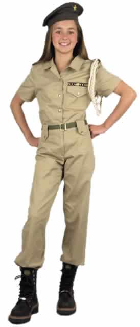 Girl's Khaki Military Costume