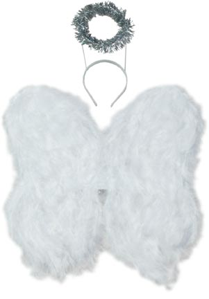 Child's White Angel Wings with Halo