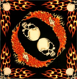Flaming Skull & Eagle Bandanas