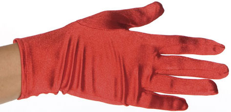 Child's Red Polyester Costume Gloves